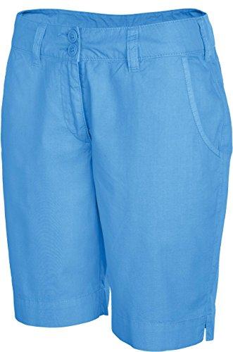 Kariban Damen Seitenschlitze Taschen Reißverschluss Bermuda Shorts Gr. 34, Blau - Washed Blue
