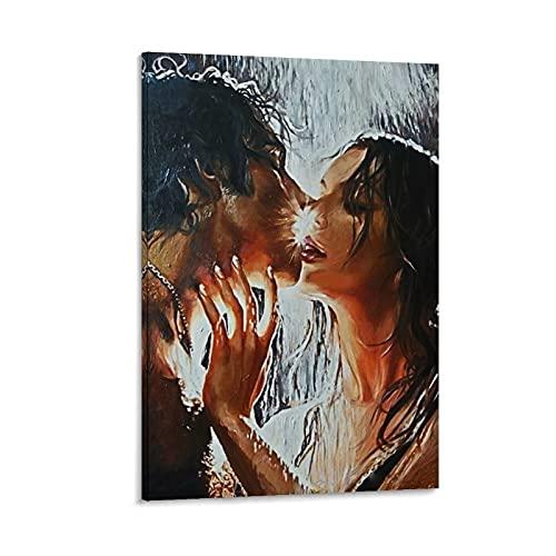 NVHAI - Poster su tela, motivo: bacio sotto la pioggia, 50 x 75 cm