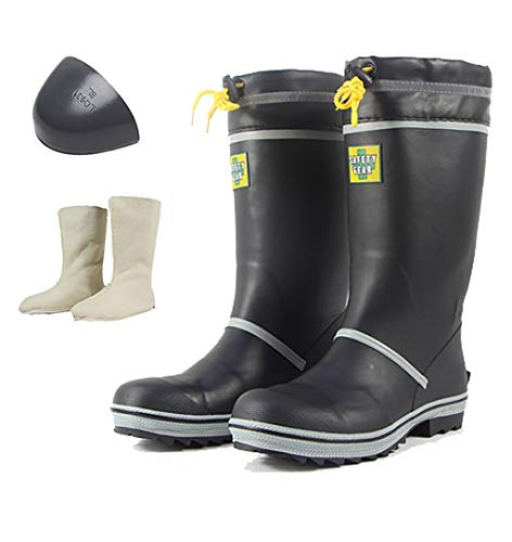 ZYFXZ Sicherheitsstiefel, Herrenstahlkappe Gummistiefel, mit abnehmbarem Plüsch Socken - for das Gehen, Im Freien, Lagerung und Industrie Bottes de sécurité (Color : H, Size : 45)