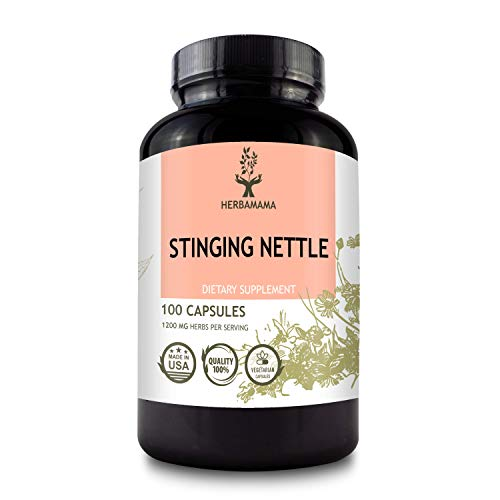 HERBAMAMA Stinging Nettle Capsules - 1200mg, 100 Capsules - Promotes Cleansing, Pain Relief & Normal Blood Pressure Levels - Urtica Dioica Root Extract Diet Supplement - Natural Non-GMO Herbal Support