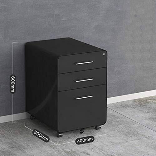 Rollcontainer 3 Drawer Mobile File Cabinet mit Schloss Vertikale Aktenschrank Multi-Schubladenschrank Heimbüro (Color : Black, Size : 60x50x40cm)