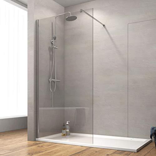 Safeni Walk In Dusche 90x200cm Duschtrennwand Glas Walk In Duschwand Duschabtrennung mit 8mm Nano-Beschichtung ESG Klares Sicherheitsglas, Transparent Glas