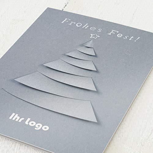 sendmoments Firmen-Weihnachtskarten im Set, personalisiert mit Ihrem Firmenlogo & -Text, Weihnachtsbaum, 12 Klappkarten, wahlweise mit Veredelung in Rot, optional mit bedruckten Design-Umschlägen
