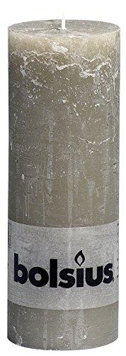 Bolsius Tall Textured Pillar Candle in 'Slate Grey'