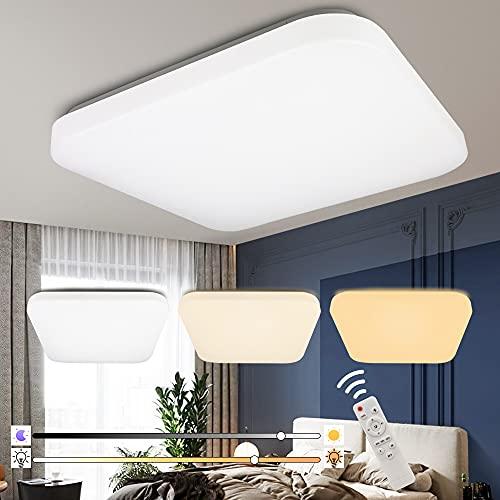 BAGZY Plafon LED Techo Regulable 48W con Mando a Distáncia,Regulable 2700K-6500K Cuadrado 33x33LM Lámpara de Techo...