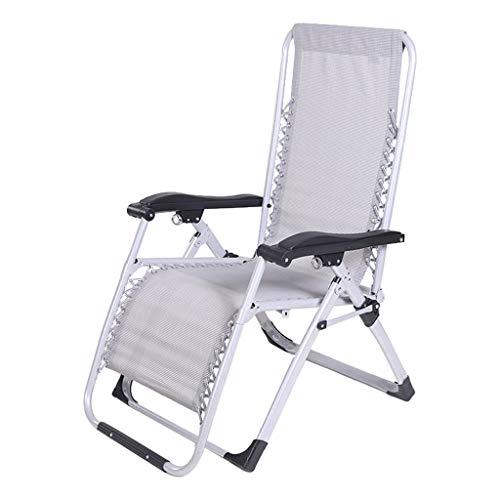 Mentaal Folding Sun Lounger, Reclining Garden Chair Zero Gravity Adjustable Portable Recliner for Home Outdoor Beach Patio,Silver