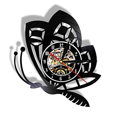 ERTOQ Vinyl Record Wall Clock Hanging Night Lamp 7 Color Remote Cute butterfly Vintage Silhouette Handmade Hanging Unique Gifts Backlight LED Luminous Clock 12 Inch Home Decor- No LED