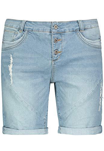Fresh Made Damen Boyfriend Jeans Bermuda-Shorts im Used Look Light-Blue L