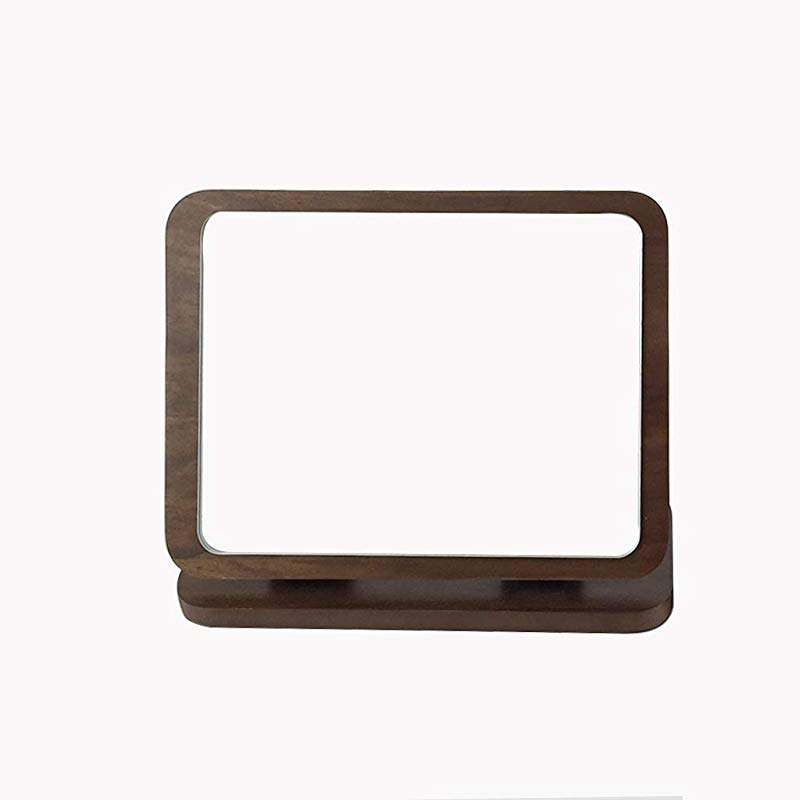 C Q CQ Desktop Folding Mirror Wooden HD Rectangle Single Sided Makeup Mirror Countertop Desktop Beauty Makeup Brown Mirror