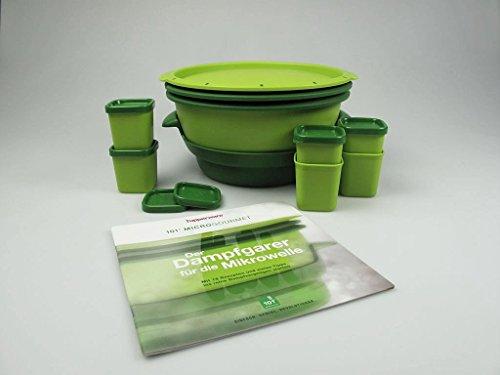 TUPPERWARE Mikrowelle MicroGourmet grün+Förmchen (6)+Rezeptheft I101 Dampfw&er
