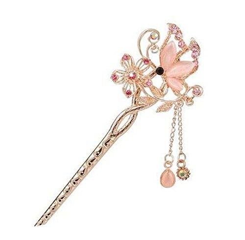 Style Classique Epingle à cheveux en métal Metal Rhinestones Décoration de cheveux, rose