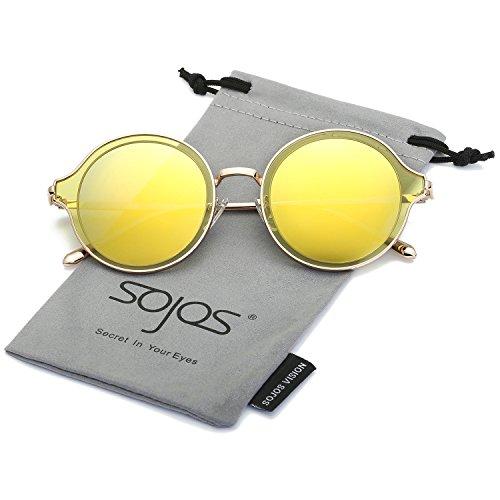 SojoS Polarisierte Runde Sonnenbrille Schick Metallrahmen Sonnenbrillen Damen Herren SJ1058 mit Gold Rahmen/Gelb Polarisierte Linse