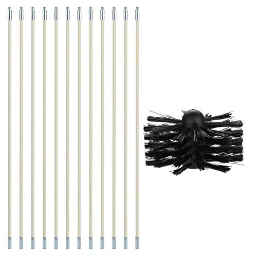 TEEKOO Schornsteinputzbürste mit hochwertigem, langlebigem, sauberem Rotationsfegersystem Kamin-Kit Stangenwerkzeug-Set für die Haushaltsküche