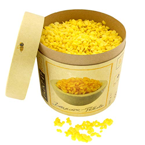 BIENENWACHS Bio für Kosmetik | Europharm Norm (Ph. Eur.) | 500 g Reine Bienenwachs – Pastillen | Pellets für Salben, Lippenbalsam, Seifen, Cremes, Lotionen und Kerzen | Granulat gelb