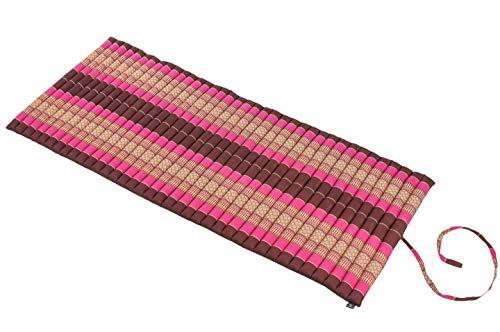 Rollbare Thaimatte Matratze, ca. 200 x 80 cm, Thaikissen Matte rot und pink Rollmatte mit Füllung aus Kapok