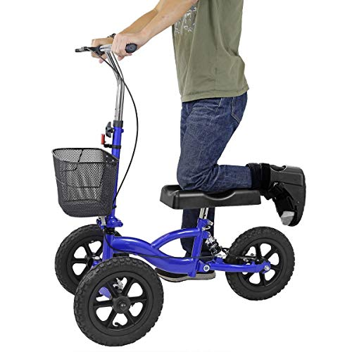 Clevr All Terrain Medical Foldable Steerable Knee Walker Scooter for Foot Injuries with Deluxe Brake System, Basket & Suspension, Alternative to Crutches, Blue