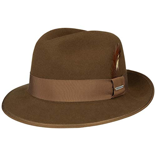 Stetson Cappello Vermont Fedora VitaFelt Uomo - Made in USA Outdoor da Pioggia con Nastro Grosgrain Estate/Inverno - XL (60-61 cm) Marrone