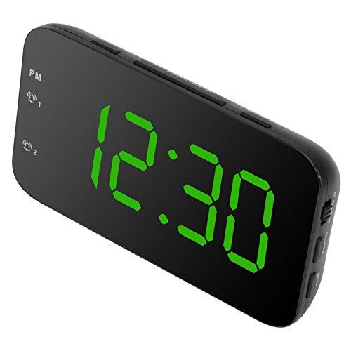 xianshi Despertador Despertadores Digitales, Despertador LED, Ajuste de Alarma Dual para el Hotel del hogar del condominio del Dormitorio(Green)