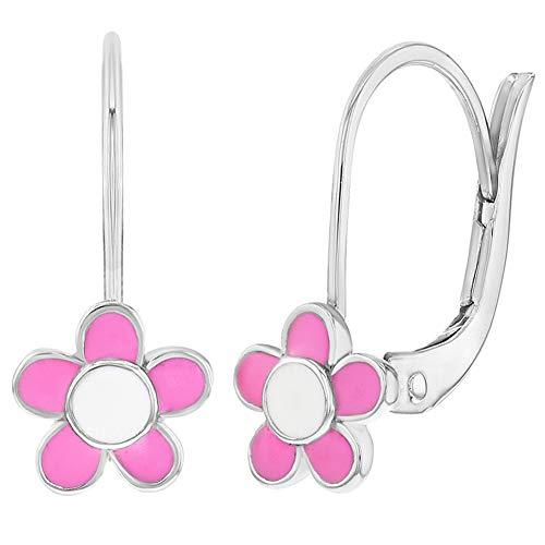 925sterling Silver rosa fiore smaltato leva posteriore orecchini per ragazze