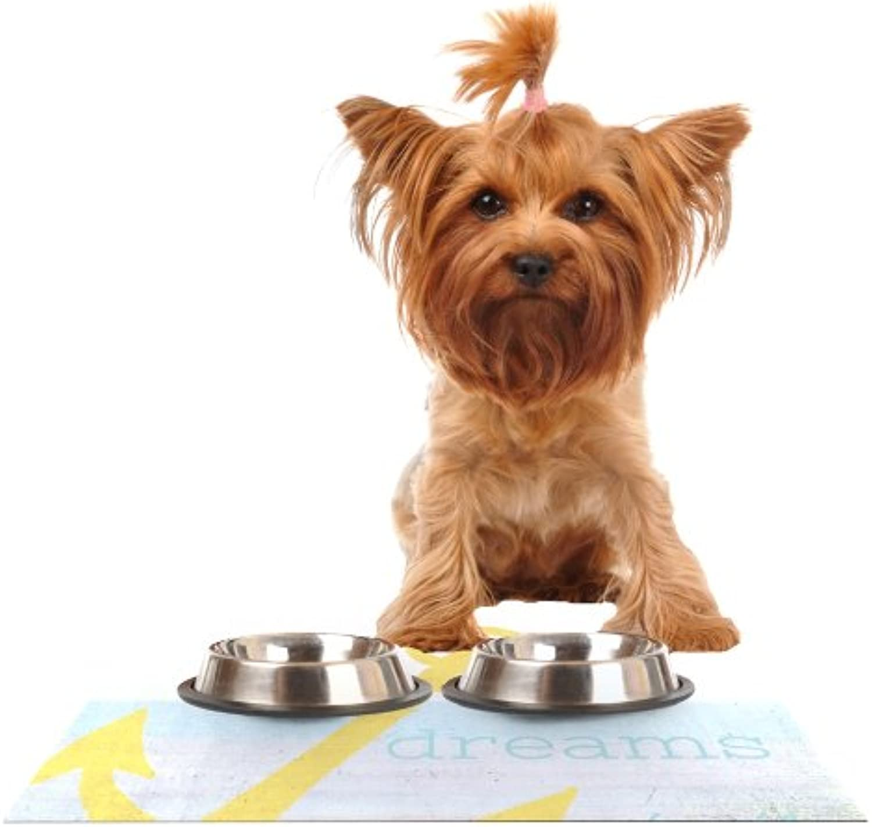 Kess InHouse Alison Coxon Let Your Dreams Set Sail  Feeding Mat for Pet Bowl, 18 by 13
