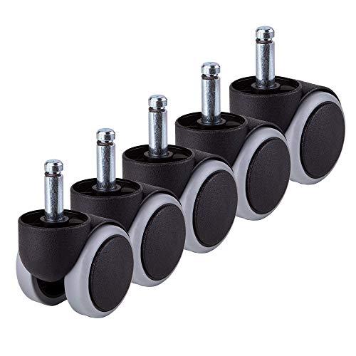 per 1 sedia Ruote in gomma 50 mm Ruota girevole per ufficio Ruote gemellate di ricambio Set di apparecchi per mobili senza graffi (5)