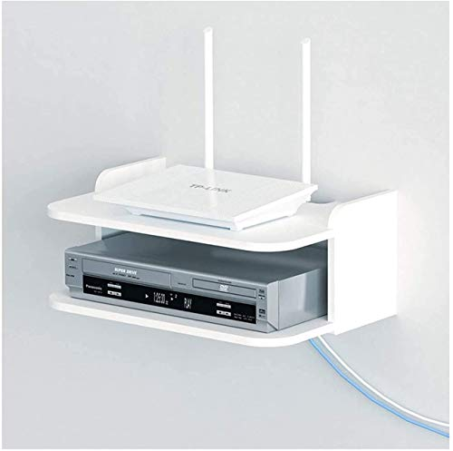 GIOAMH Organizador de caja de cables, caja de almacenamiento de enrutador de estante flotante, soporte de consola de medios montado en la pared, para caja de cable/enrutador/control remoto/repr