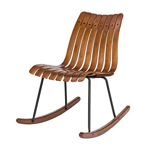Glitzhome GH20339 Rocking Chair Bamboo Contoured Indoor Outdoor Patio Porch Rocker, Natural