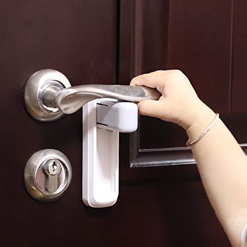 EUDEMON Cerradura de la manija de la puerta para la seguridad de los niños, fácil de instalar, utiliza adhesivo 3M VHB, no se requieren herramientas ni taladros (Blanco, 2 piezas)