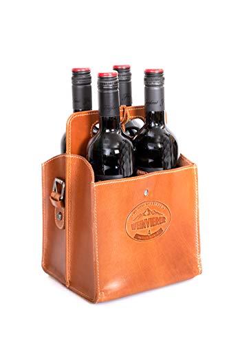 Alpenleder® Bolsa para botellas de vino elegante de piel de búfalo, elegante...
