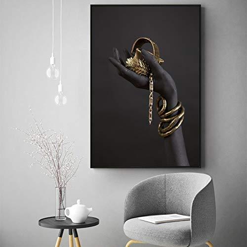 Lunderliny Pulsera De Mano Dorada para Mujer Negra Pintura Al Óleo sobre Lienzo Carteles E Impresiones Artísticos Africanos Imagen Artística De Pared para Sala De Estar 60x80cm