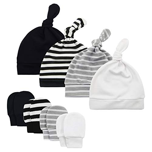 Newborn Baby Beanie Hat for Boys Knot Baby Boy Hat and Mitten Set Infant Caps Baby Accessories Fall Winter 0-6 Months 4 Mix-Pack A