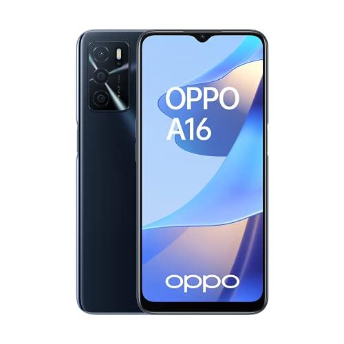 OPPO A16 Smartphone, 5.000 mAh Akku, 6,52 Zoll LCD Bildschirm mit 16,7 Millionen Farben, 13 MP KI Triplekamera, 64 GB Speicher, 4 GB Arbeitsspeicher, USB-C, Bluetooth 5.0, Dual-SIM, Crystal Black
