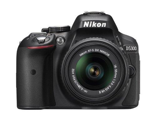 Nikon D5300 24.1MP DX-Format Digital SLR Camera with AF-S DX NIKKOR 18-55mm f/3.5-5.6G VR II Lens, Black - Bundle with Slinger 100 Holster Bag, 16GB Class 10 SDHC Card, Spare EN-EL 14 Battery
