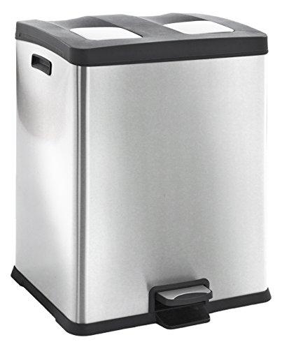 EKO Recycle Poubelle à Pédale Métal Inox 49,5 x 45,9 x 63,6 cm 30 litres