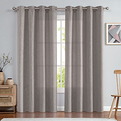 jinchan Linen Look Curtains for Bedroom 84 inch Grey Curtains for Living Room Burlap Window Curtain Set of 2 Panels