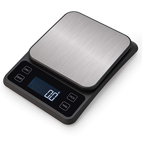 Báscula de Cocina Digital Electrónica con Pantalla LCD y Superficie de Vidrio Templado para Peso Balanza Alimentos Multifuncional Comida Función Auto-Tara Alta Precisión, Recargable