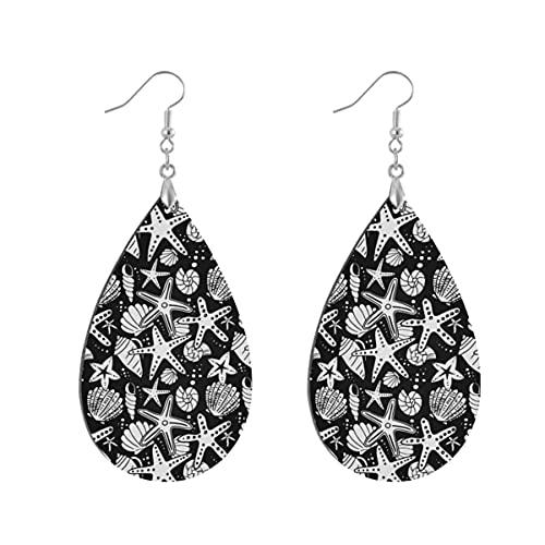 1 par de pendientes de madera con forma de gota de agua en blanco y negro con estrellas de mar pintadas de madera para mujer, Teardrop, Madera Cobre Plata,