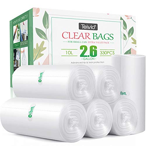 330 Counts Strong Trash Bags Garbage Bags by Teivio, Bathroom Trash Can Bin Liners, Small Plastic Bags for home office kitchen (2.6 Gallon)