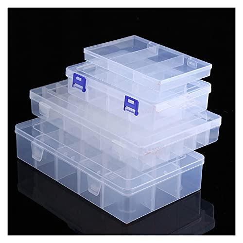 Caja herramientas almacenamiento Caja de herramientas de plástico transparente ajustable para terminal Pequeño componente joyería caja de almacenamiento bead píldoras organizador uñas arte de la punta