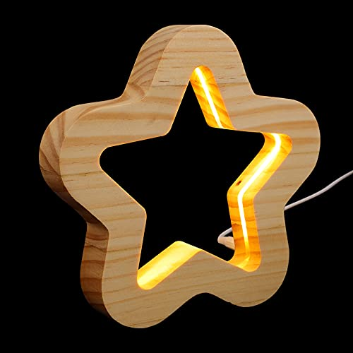 PIXNOR Marquesina de Estrella Luz de Madera LED Marquesina de Estrella para El Dormitorio de La Sala de Estar