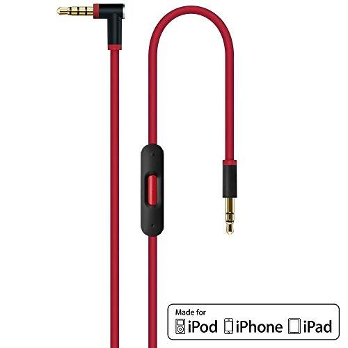 ErsatzKabel Audio Rot Verlängerungskabel für Beats by Dr Dre/Monster Kopfhörer mit Inline Mikrofon, Lautstärkeregler, und Anrufannahme - Studio | Solo | Wireless | Pro | Mixr - iPhone 3,5mm Aux Stereo