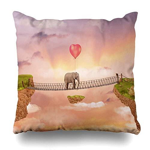Dekokissenbezug Afterglow Elephant on Bridge Rays untergehende Sonne im Himmel Herzförmige Luftballons für Magazine Graphics Dekorative Kissenbezug Square Home Decor Sofakissen Fall 18 x 18 Zoll