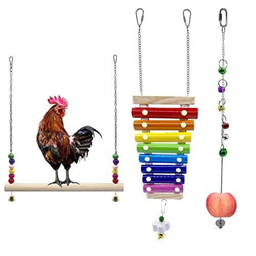 EBaokuup 3PCS Chicken Xylophone Toy, Suspensible Wooden Chicken Toys for Hens Chicken Stand Toy, Chicken Vegetable Hanging Feeder Chicken Veggies Skewer Fruit Holder