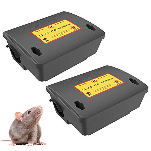 2Pack Rat Bait Station-Mouse Traps, Reusable Pest Box Against Mouses Squirrels for House, Outdoor & Indoor Rodent Control(Not Including Bait)