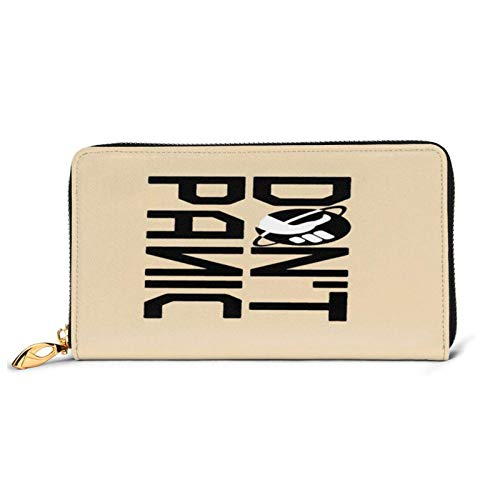 ClownFish Bikini-Tasche Lcyc Don't Panic Logo Leder Clutch Wasserdicht Kartenhalter mit Reißverschluss Brieftasche Durable Umschlag Clutch Tragbare Geldbörse