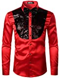 ZEROYAA Men's Shiny Sequins Design Silk Like Satin Button Up Disco Party Dress Shirts with Bow Tie ZLCL22-Red Black Small