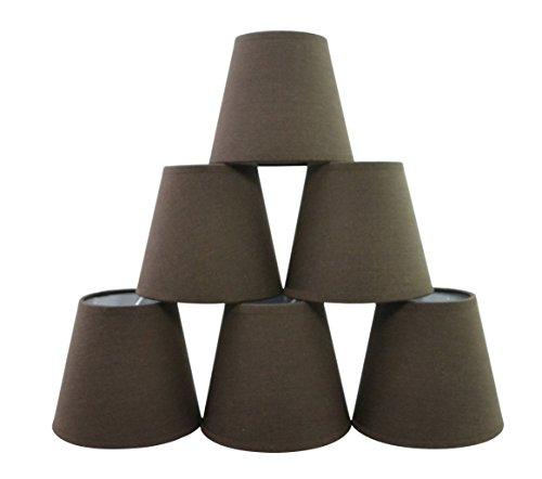 Conjunto de 6 piezas Clamp Pantalla de lámpara para lampara y lampara de pared (Chocolate negro) / Set of 6 Clip Lamp Shade for Chandelier and wall lamp (Black Chocolate)