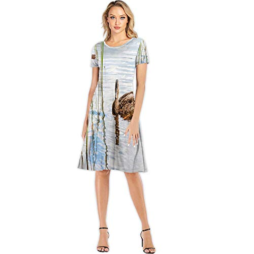 Brown Duck Swimming in Lake Near The Beach Europe Fashion Elegant Lady Dress,Water Birds Species in The Waterfowl Family Anatidae for Party,M