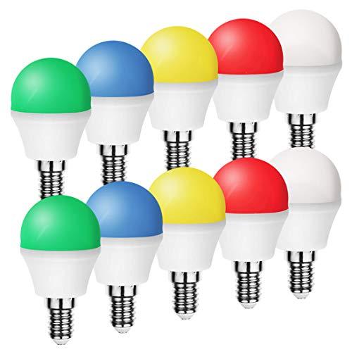 10er Set LED Bunte Glühbirne 1W E14 Gemischt Rot Gelb Grün Blau Weiß, farbige Glühbirnen Party Glühbirnen