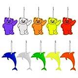 Haosell 10 colgantes reflectores con llavero, diseño de oso, delfín, reflectantes, para niños, para mochilas, chaquetas, mochilas, ciclismo, caminar, correr o cochecito